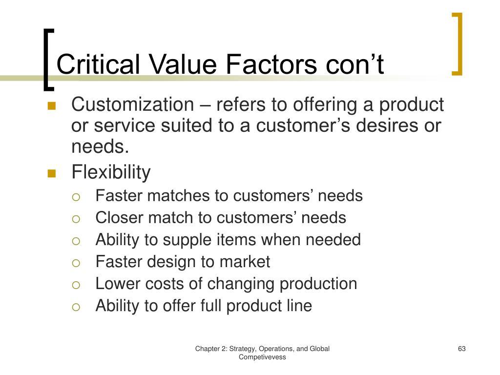 Critical Value Factors con't