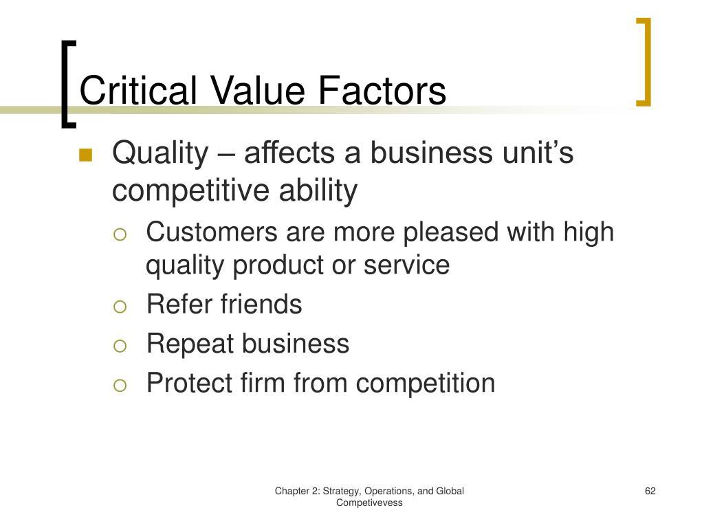 Critical Value Factors