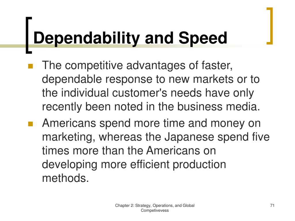 Dependability and Speed