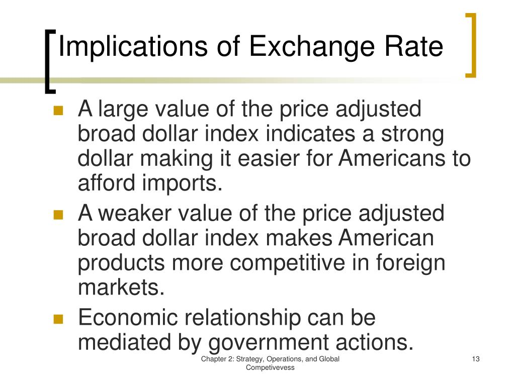 Implications of Exchange Rate
