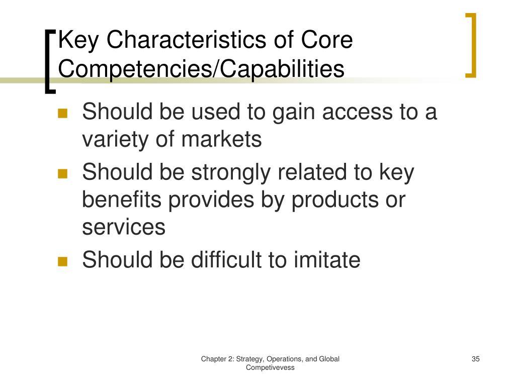 Key Characteristics of Core Competencies/Capabilities