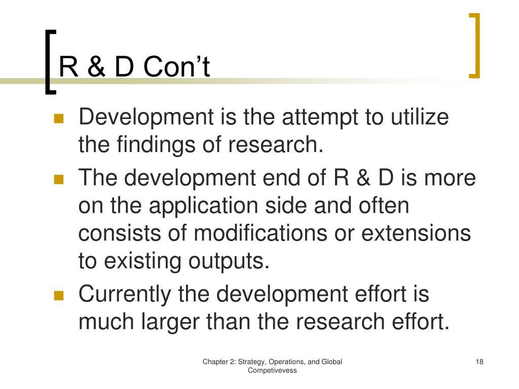 R & D Con't