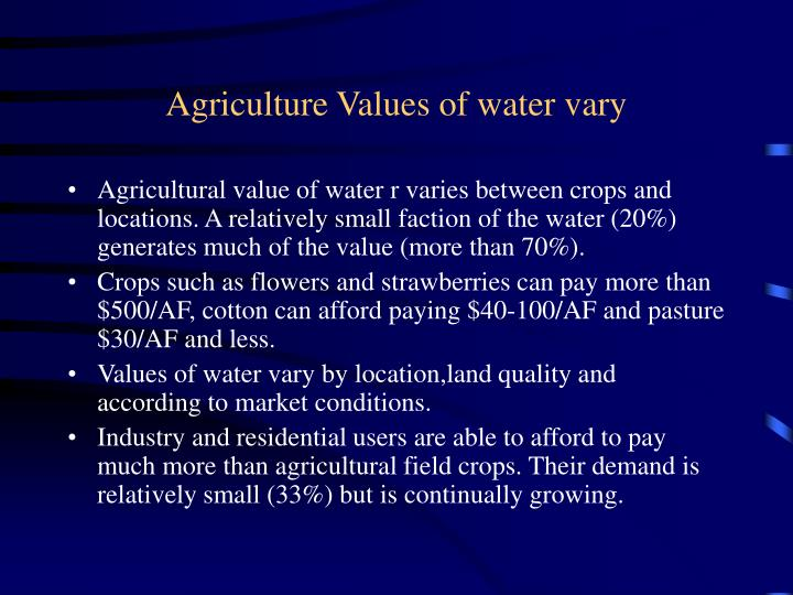 Agriculture Values of water vary