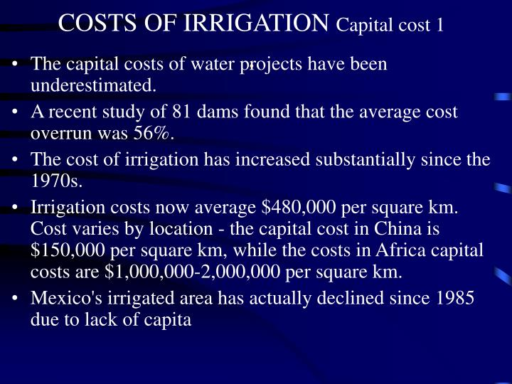 COSTS OF IRRIGATION