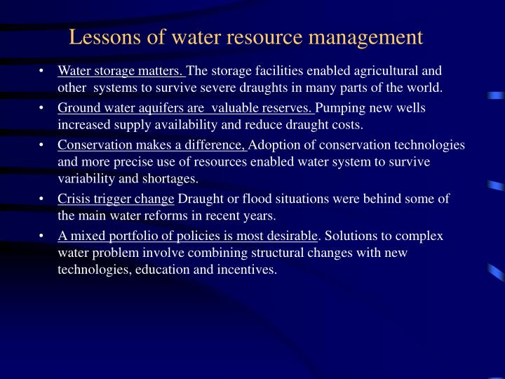 Lessons of water resource management