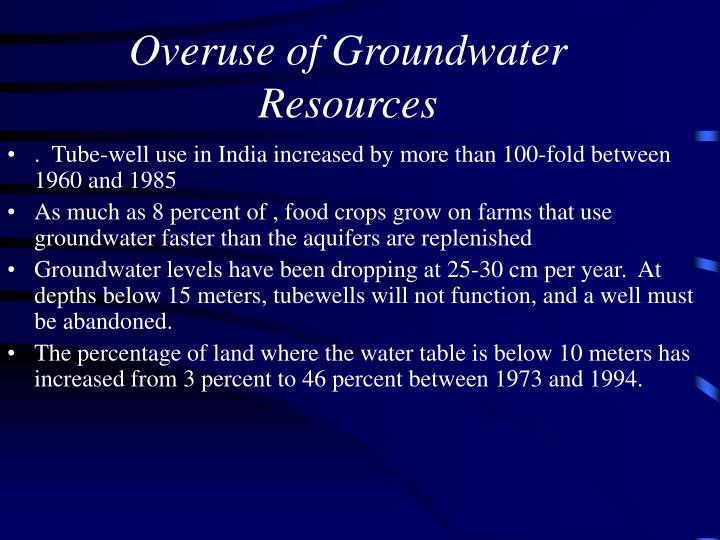 Overuse of Groundwater Resources