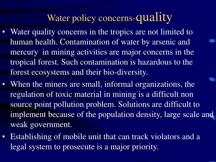 Water policy concerns-
