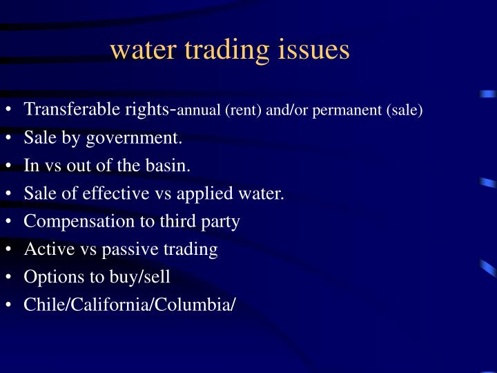 water trading issues