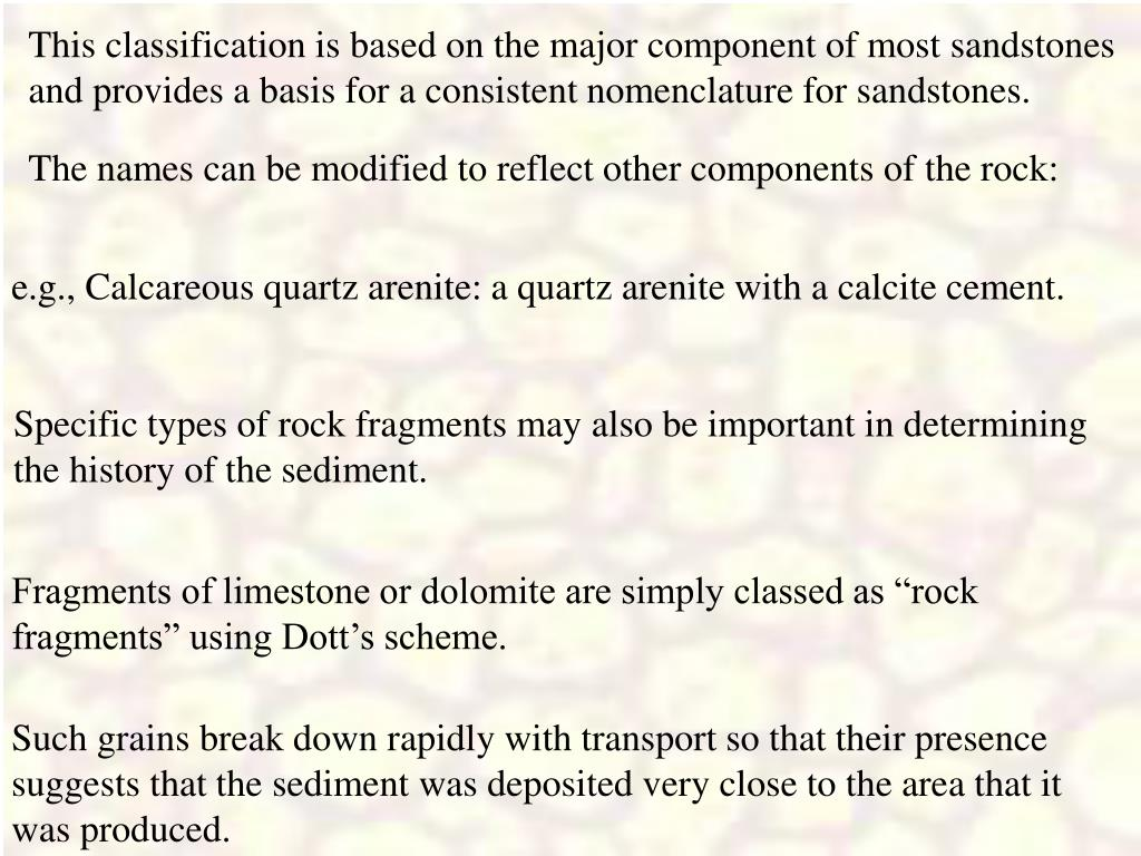 This classification is based on the major component of most sandstones and provides a basis for a consistent nomenclature for sandstones.