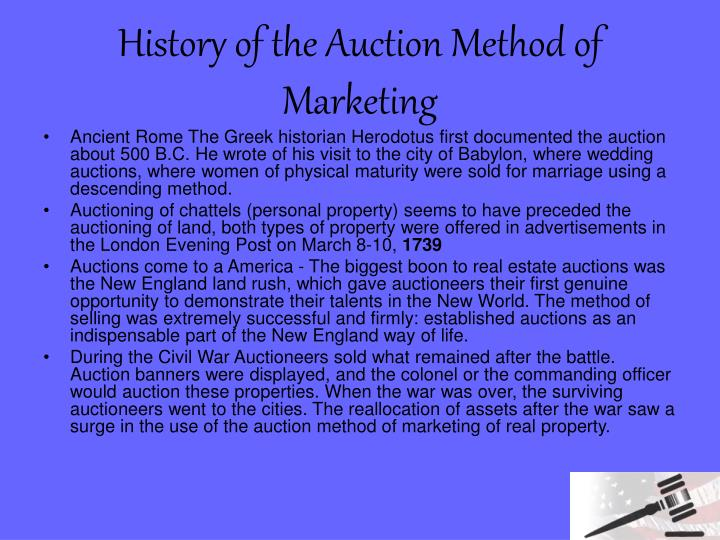History of the auction method of marketing