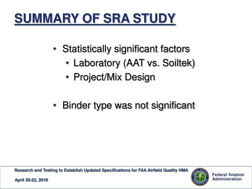 SUMMARY OF SRA STUDY