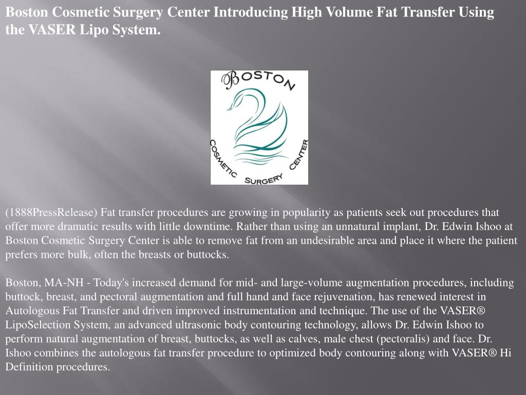 Boston Cosmetic Surgery Center Introducing High Volume Fat Transfer Using the VASER Lipo System.