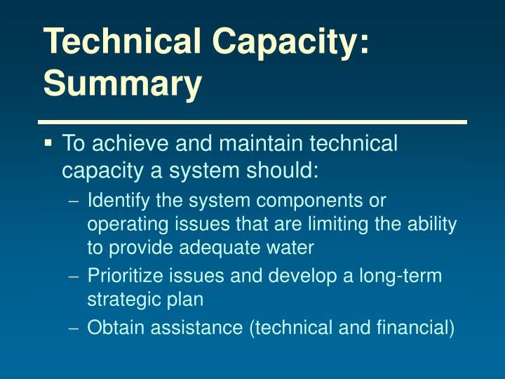 Technical Capacity: Summary