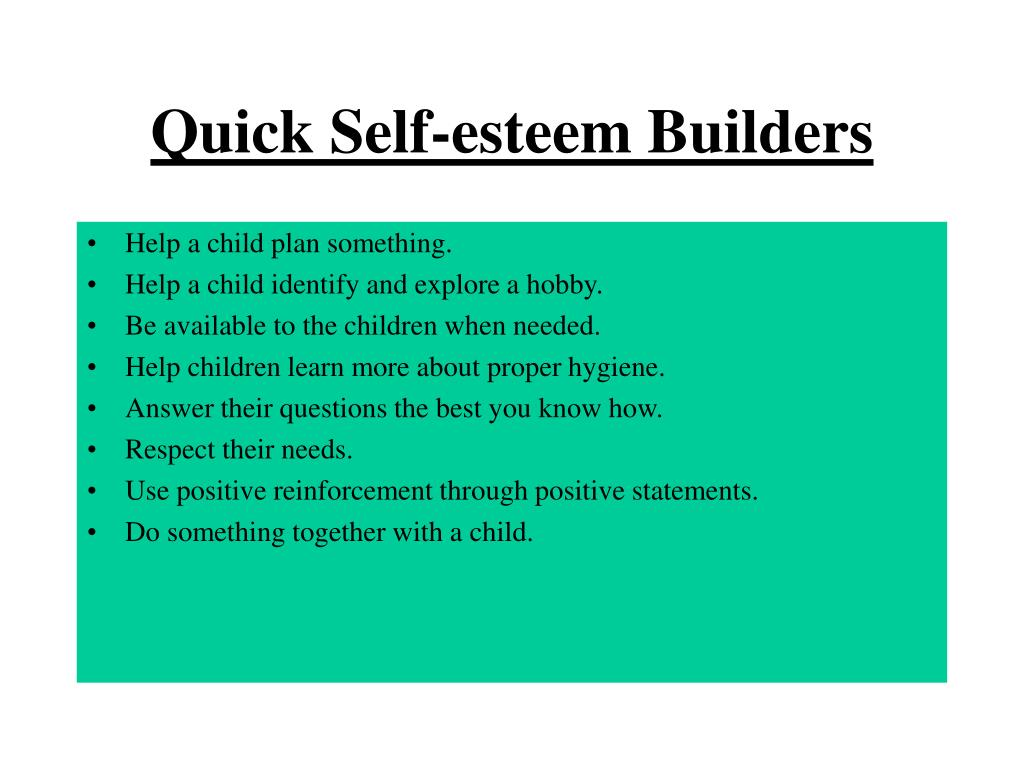 Quick Self-esteem Builders