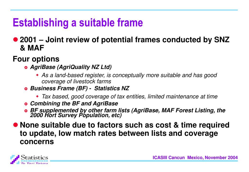 Establishing a suitable frame