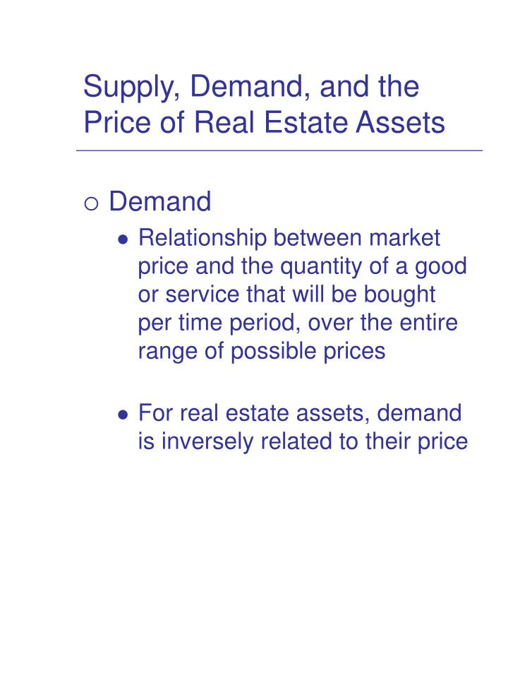 Supply, Demand, and the Price of Real Estate Assets