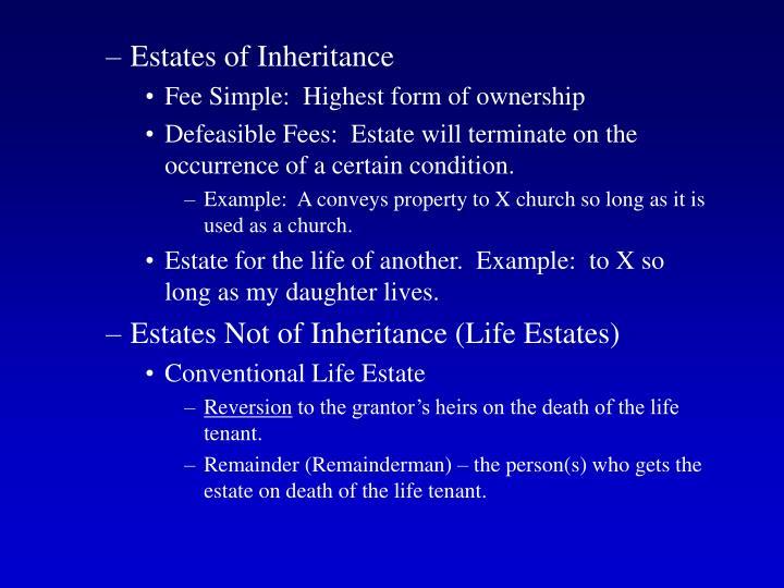 Estates of Inheritance