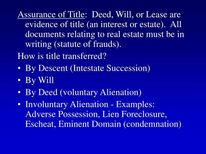 Assurance of Title