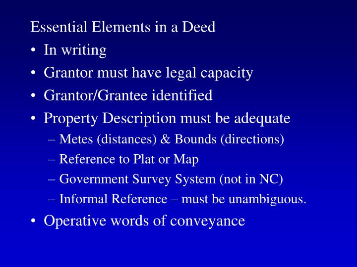 Essential Elements in a Deed