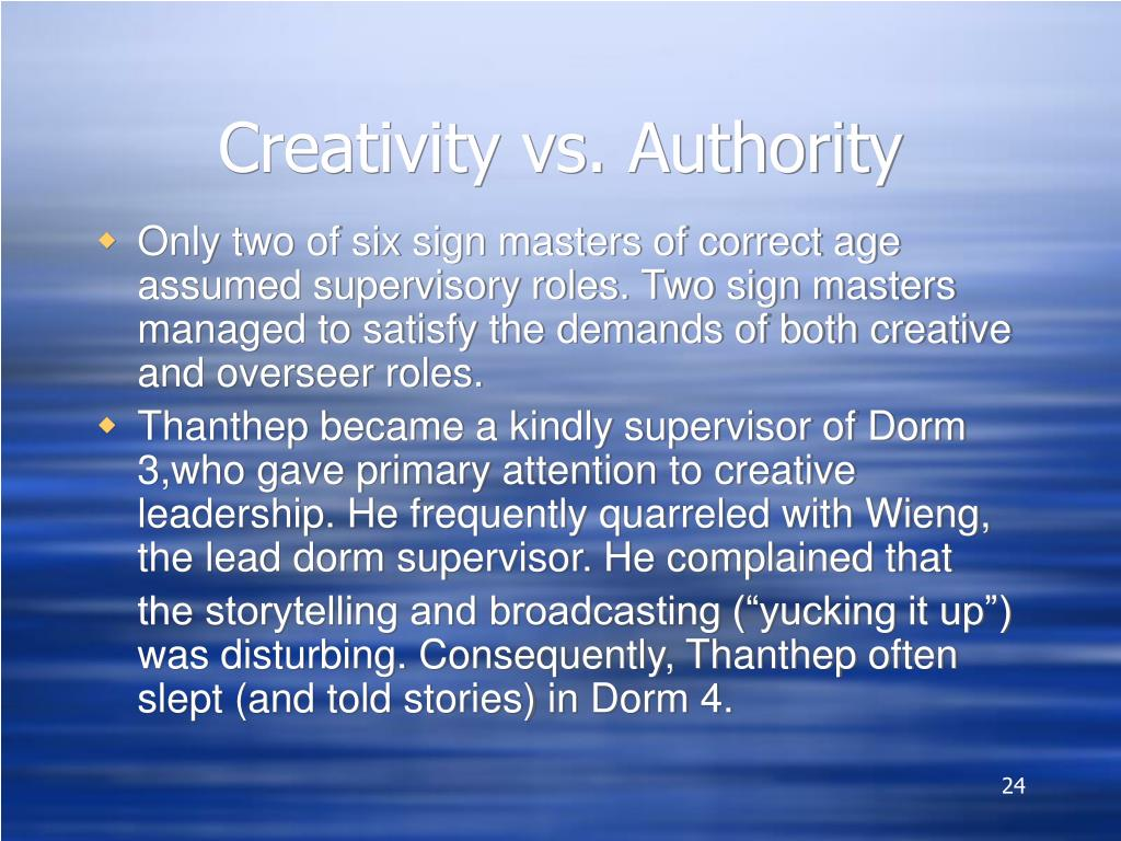 Creativity vs. Authority