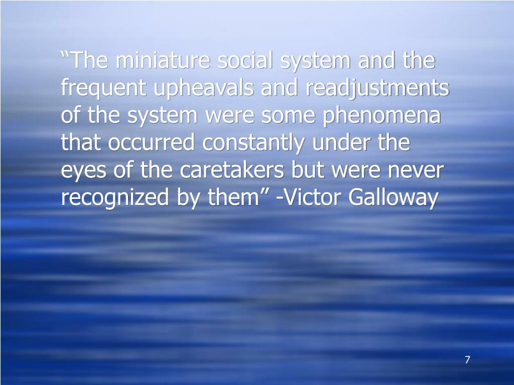 """The miniature social system and the frequent upheavals and readjustments of the system were some phenomena that occurred constantly under the eyes of the caretakers but were never recognized by them"" -Victor Galloway"