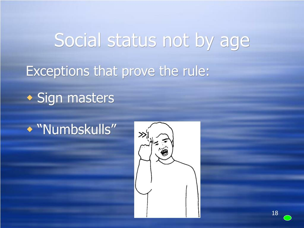 Social status not by age