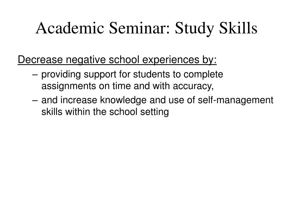 Academic Seminar: Study Skills