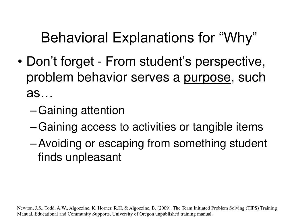 "Behavioral Explanations for ""Why"""