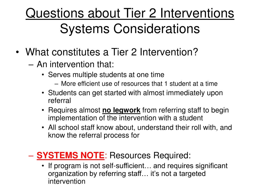Questions about Tier 2 Interventions