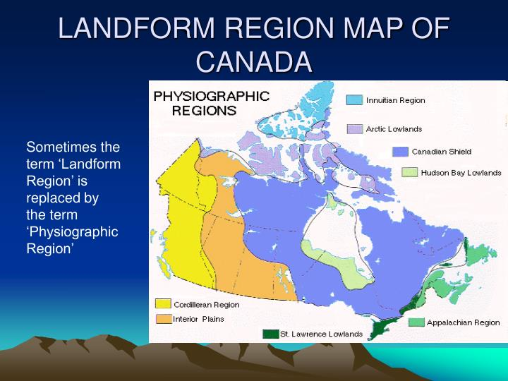 Landform region map of canada