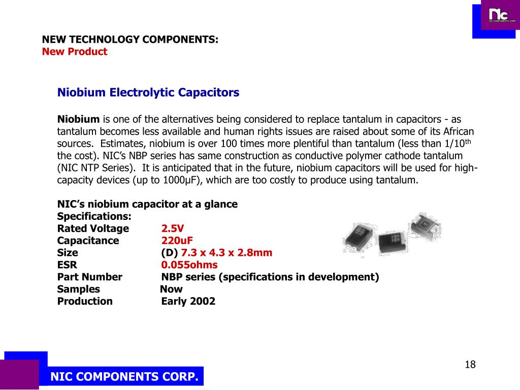 NEW TECHNOLOGY COMPONENTS: