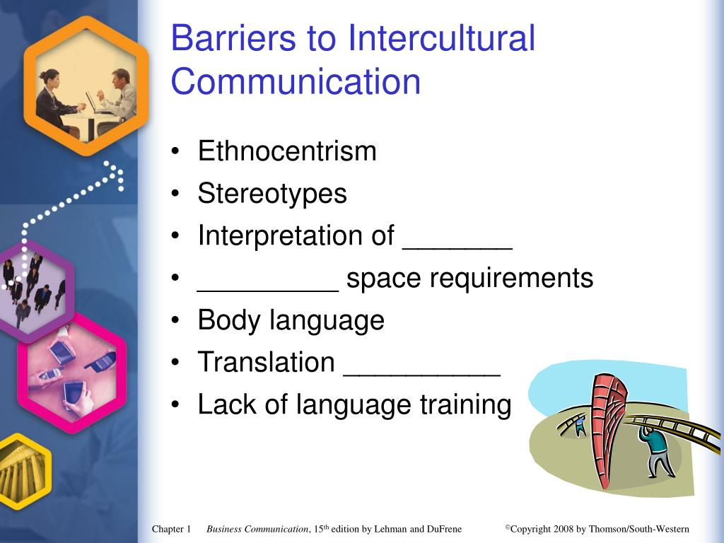 research papers barriers intercultural communication Related documents: intercultural communication barriers essay intercultural communication essay example intercultural communication & groups com 330 august 21, 2012 dr david mezzacappa different cultures can be a challenge for anyone, when groups come together they work together and set aside the differences.