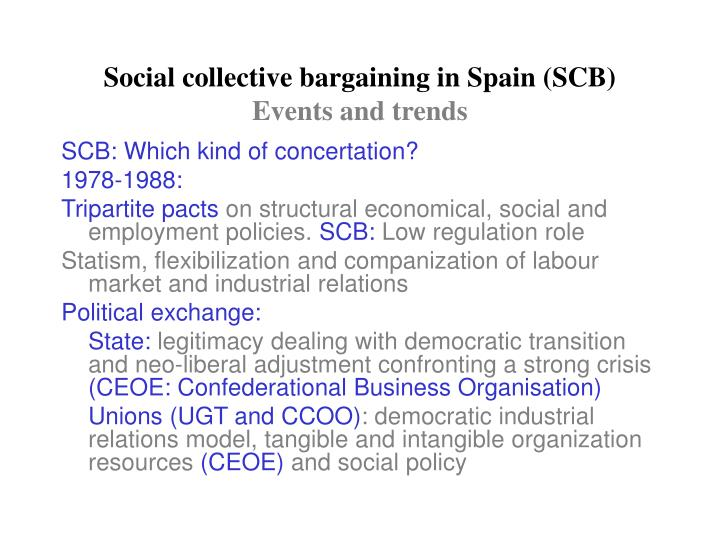 Social collective bargaining in spain scb events and trends