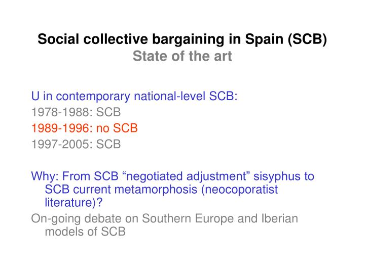 Social collective bargaining in spain scb state of the art