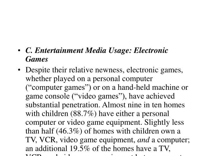 C. Entertainment Media Usage: Electronic Games