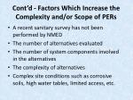 cont d factors which increase the complexity and or scope of pers14