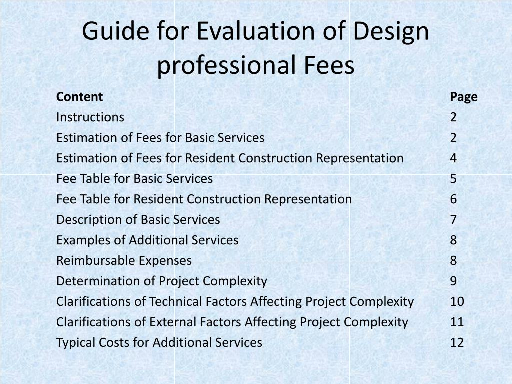 Guide for Evaluation of Design professional Fees