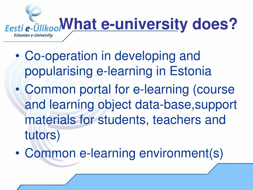 What e-university does