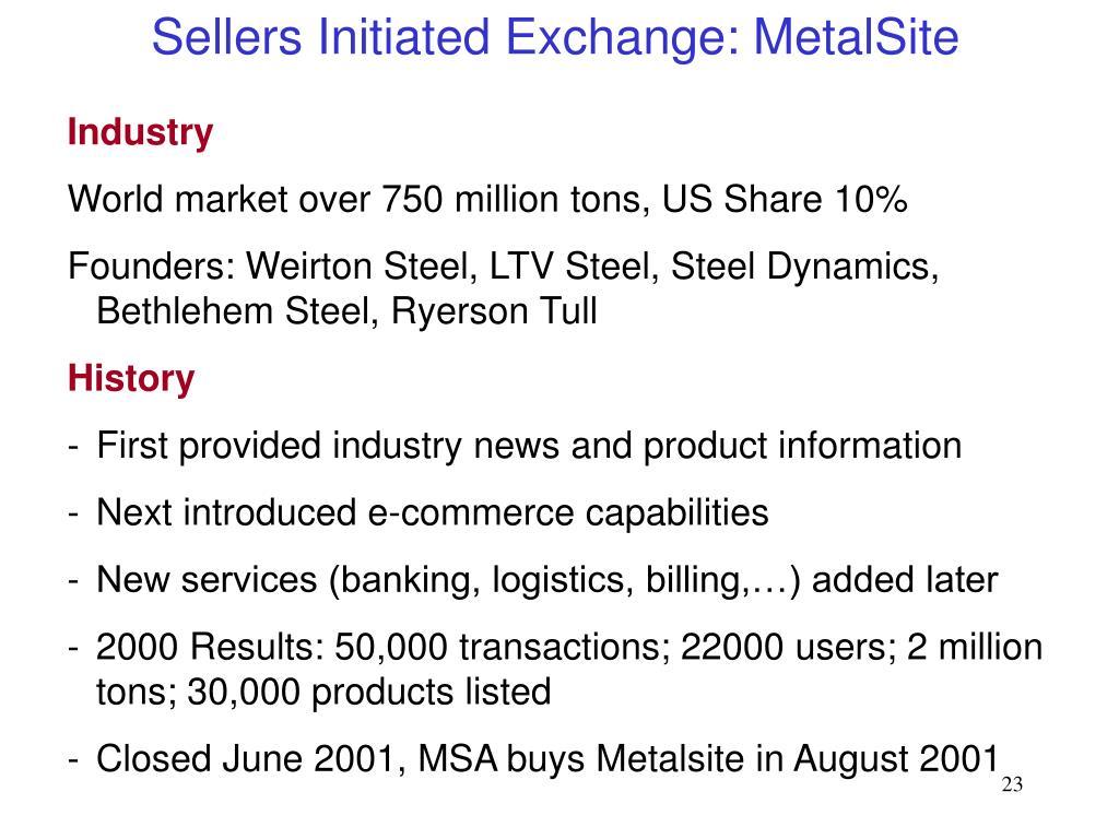 Sellers Initiated Exchange: MetalSite