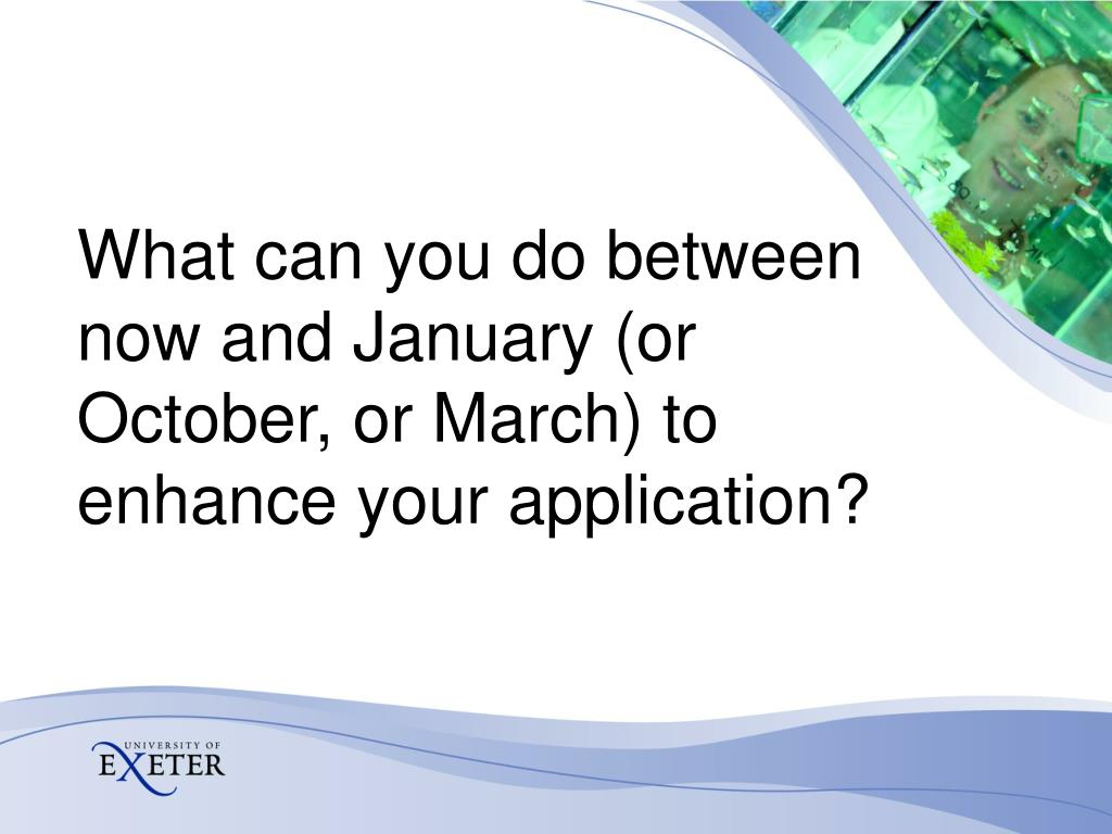 What can you do between now and January (or October, or March) to enhance your application?
