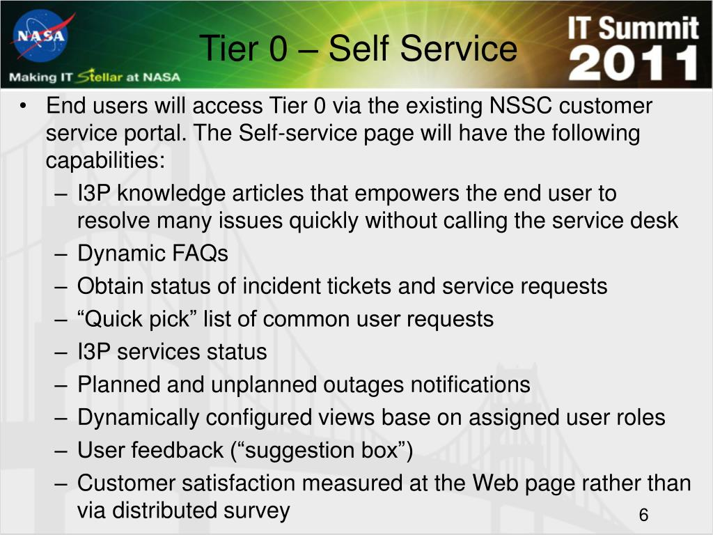 Tier 0 – Self Service