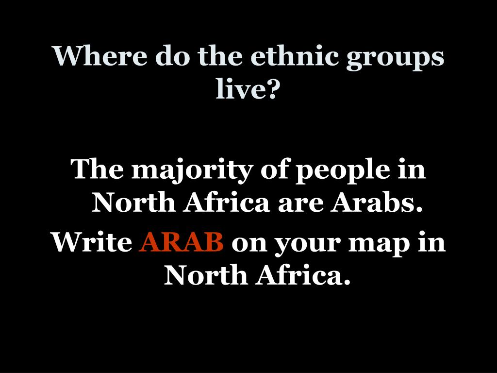 Where do the ethnic groups live?