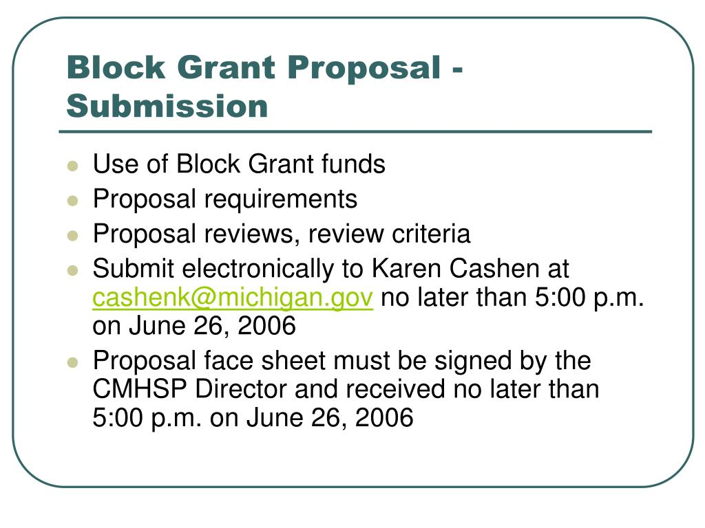 Block Grant Proposal - Submission