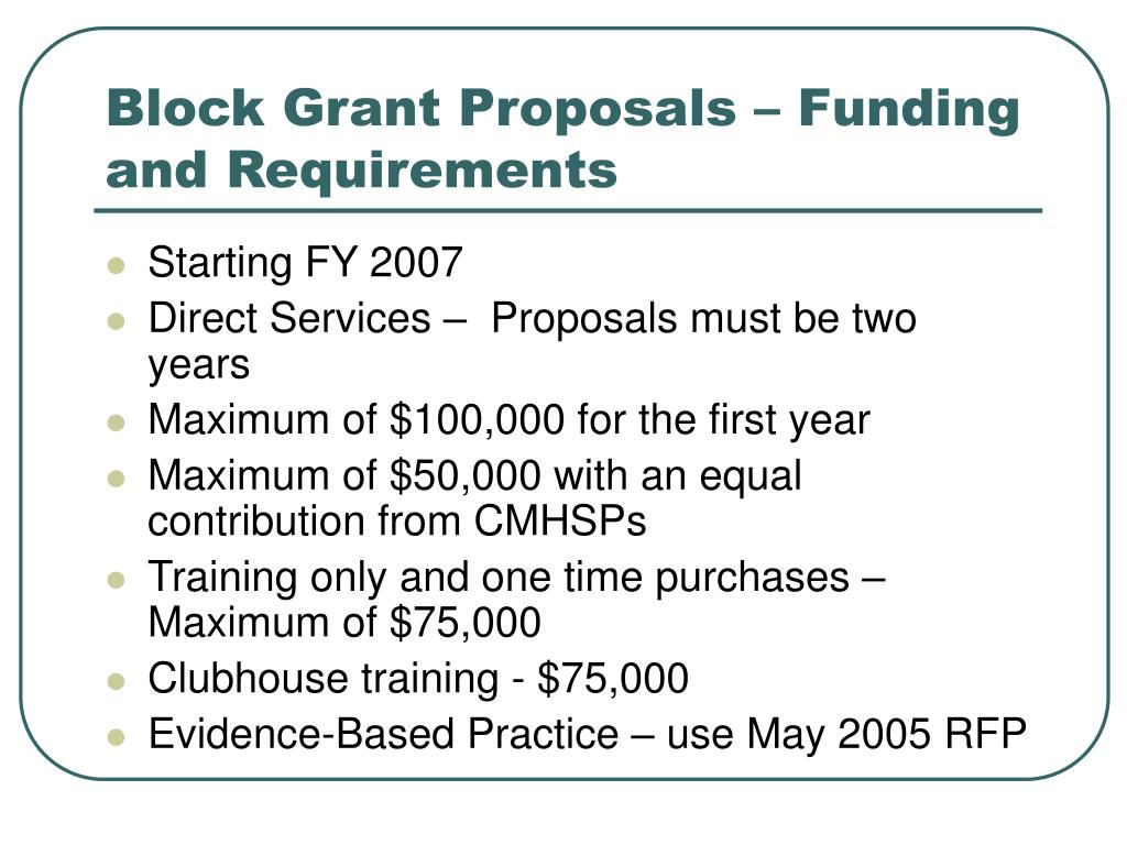 Block Grant Proposals – Funding and Requirements