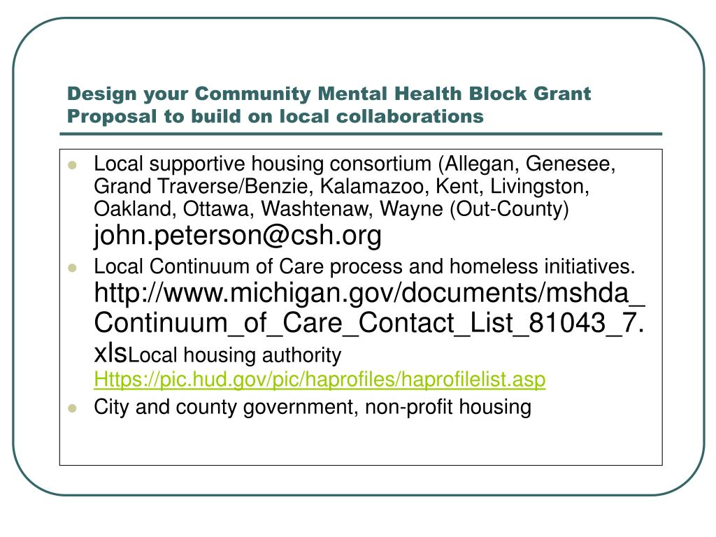 Design your Community Mental Health Block Grant Proposal to build on local collaborations