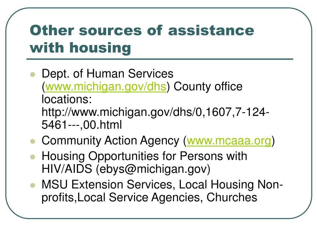 Other sources of assistance with housing