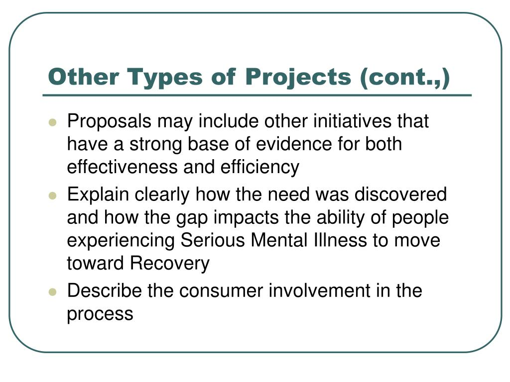 Other Types of Projects (cont.,)