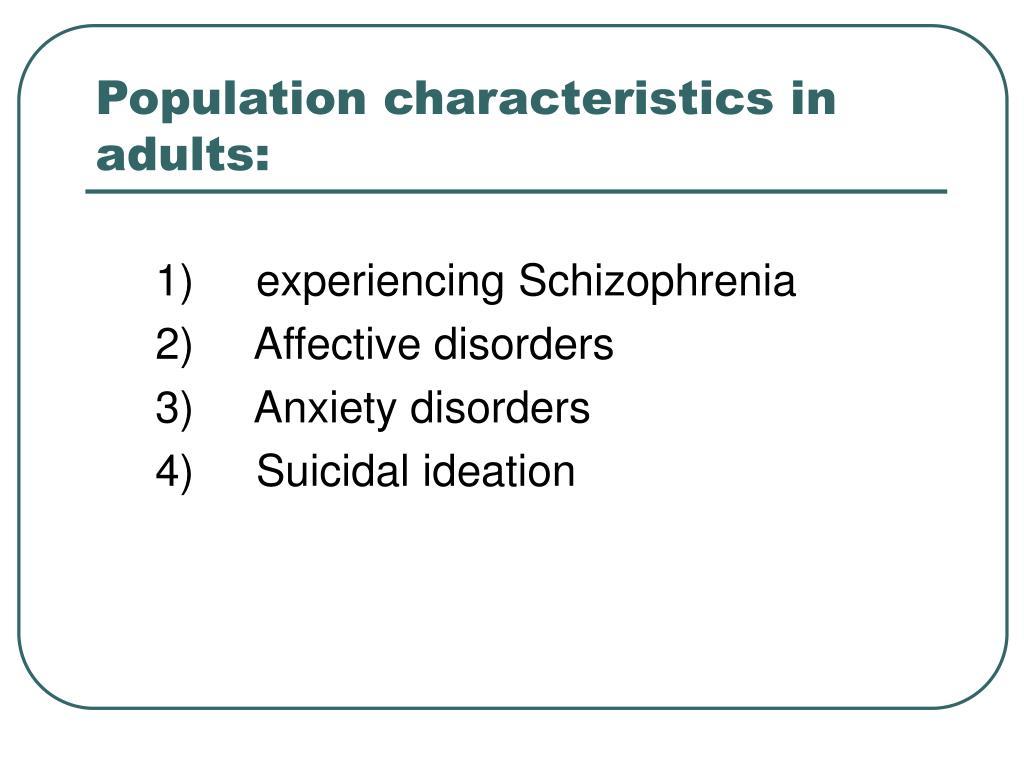Population characteristics in adults: