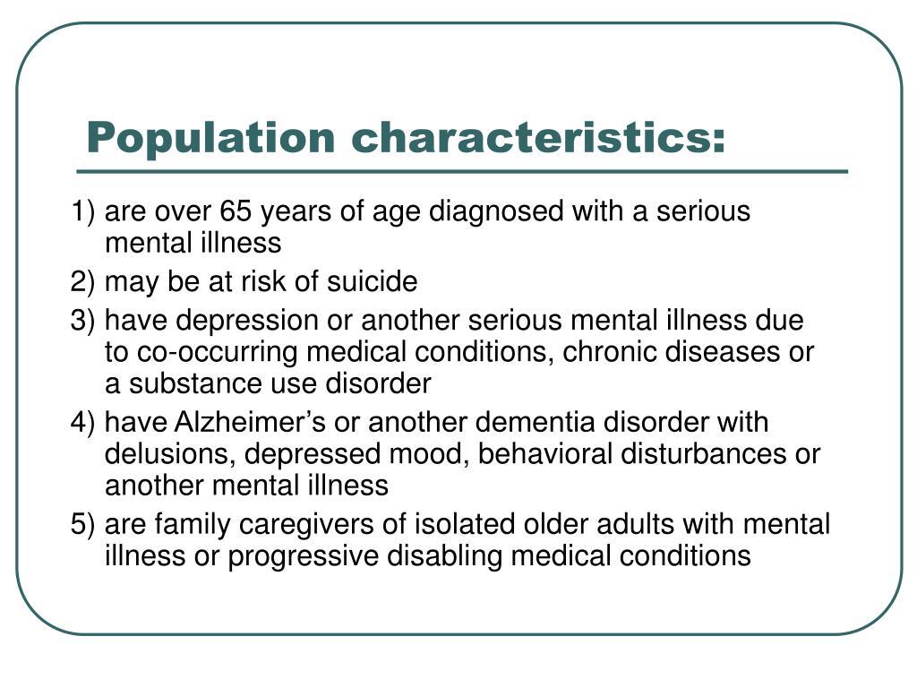 Population characteristics: