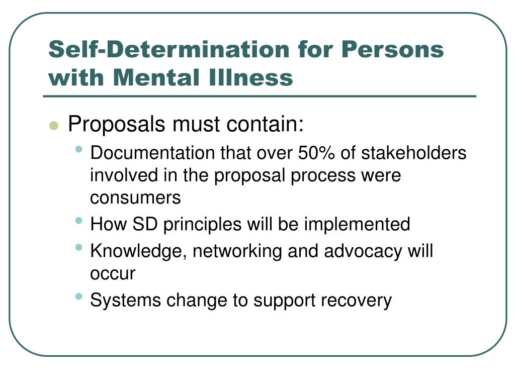 Self-Determination for Persons with Mental Illness